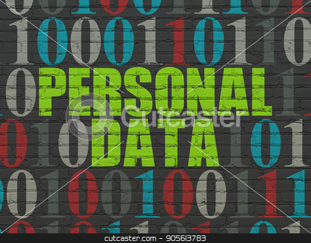 Data concept: Personal Data on wall background stock photo, Data concept: Painted green text Personal Data on Black Brick wall background with Binary Code by mkabakov