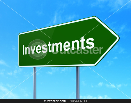 Banking concept: Investments on road sign background stock photo, Banking concept: Investments on green road highway sign, clear blue sky background, 3D rendering by mkabakov