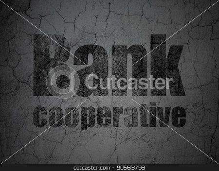 Banking concept: Bank Cooperative on grunge wall background stock photo, Banking concept: Black Bank Cooperative on grunge textured concrete wall background by mkabakov