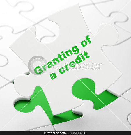 Money concept: Granting of A credit on puzzle background stock photo, Money concept: Granting of A credit on White puzzle pieces background, 3D rendering by mkabakov