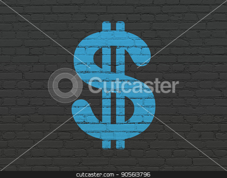 Currency concept: Dollar on wall background stock photo, Currency concept: Painted blue Dollar icon on Black Brick wall background by mkabakov