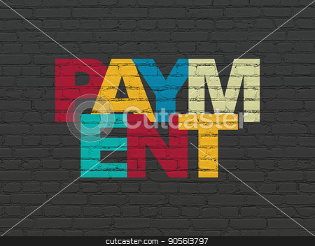 Currency concept: Payment on wall background stock photo, Currency concept: Painted multicolor text Payment on Black Brick wall background by mkabakov