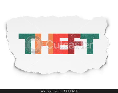 Privacy concept: Theft on Torn Paper background stock photo, Privacy concept: Painted multicolor text Theft on Torn Paper background by mkabakov