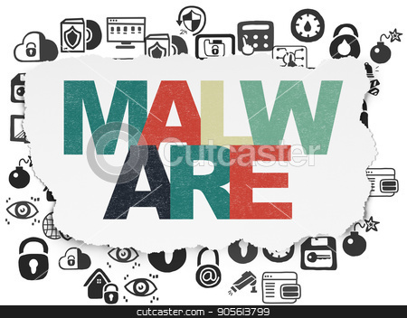 Protection concept: Malware on Torn Paper background stock photo, Protection concept: Painted multicolor text Malware on Torn Paper background with  Hand Drawn Security Icons by mkabakov