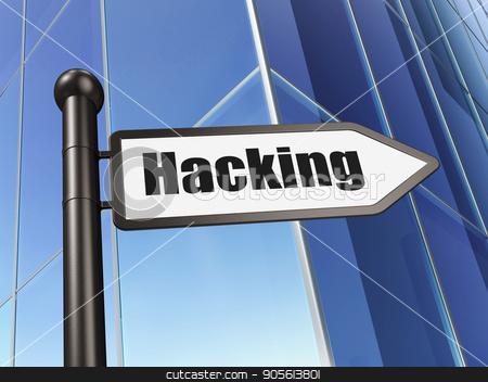 Security concept: sign Hacking on Building background stock photo, Security concept: sign Hacking on Building background, 3D rendering by mkabakov