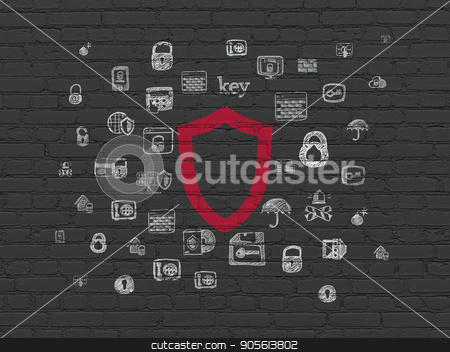 Safety concept: Contoured Shield on wall background stock photo, Safety concept: Painted red Contoured Shield icon on Black Brick wall background with  Hand Drawn Security Icons by mkabakov