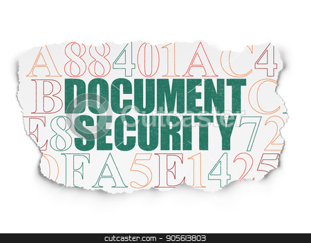 Safety concept: Document Security on Torn Paper background stock photo, Safety concept: Painted green text Document Security on Torn Paper background with  Hexadecimal Code by mkabakov