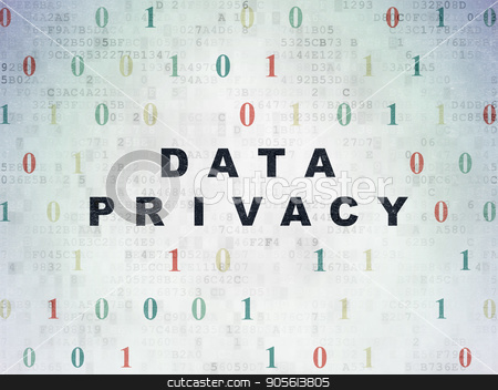 Protection concept: Data Privacy on Digital Data Paper background stock photo, Protection concept: Painted black text Data Privacy on Digital Data Paper background with Binary Code by mkabakov