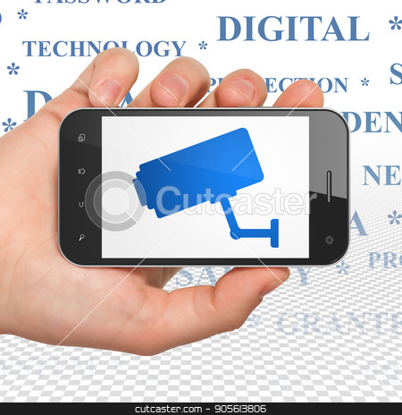 Privacy concept: Hand Holding Smartphone with Cctv Camera on display stock photo, Privacy concept: Hand Holding Smartphone with  blue Cctv Camera icon on display,  Tag Cloud background, 3D rendering by mkabakov
