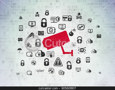 Safety concept: Cctv Camera on Digital Data Paper background stock photo, Safety concept: Painted red Cctv Camera icon on Digital Data Paper background with  Hand Drawn Security Icons by mkabakov
