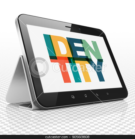 Privacy concept: Tablet Computer with Identity on  display stock photo, Privacy concept: Tablet Computer with Painted multicolor text Identity on display, 3D rendering by mkabakov