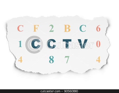Security concept: CCTV on Torn Paper background stock photo, Security concept: Painted blue text CCTV on Torn Paper background with  Hexadecimal Code by mkabakov