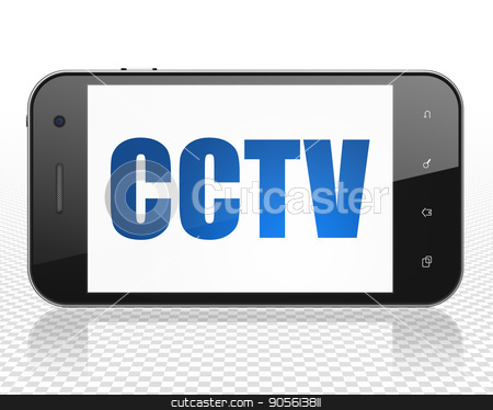 Protection concept: Smartphone with CCTV on display stock photo, Protection concept: Smartphone with blue text CCTV on display, 3D rendering by mkabakov