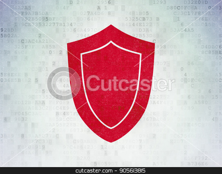 Safety concept: Shield on Digital Data Paper background stock photo, Safety concept: Painted red Shield icon on Digital Data Paper background by mkabakov