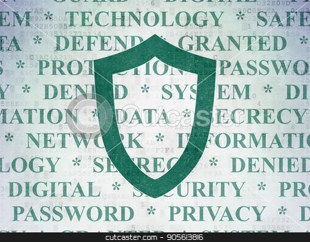 Safety concept: Contoured Shield on Digital Data Paper background stock photo, Safety concept: Painted green Contoured Shield icon on Digital Data Paper background with  Tag Cloud by mkabakov