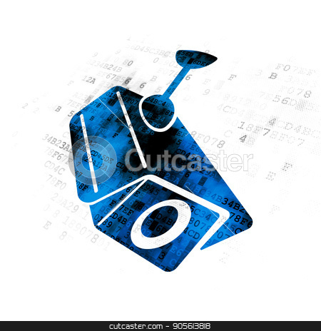 Security concept: Cctv Camera on Digital background stock photo, Security concept: Pixelated blue Cctv Camera icon on Digital background by mkabakov