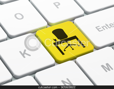 Business concept: Office on computer keyboard background stock photo, Business concept: computer keyboard with Office icon on enter button background, selected focus, 3D rendering by mkabakov
