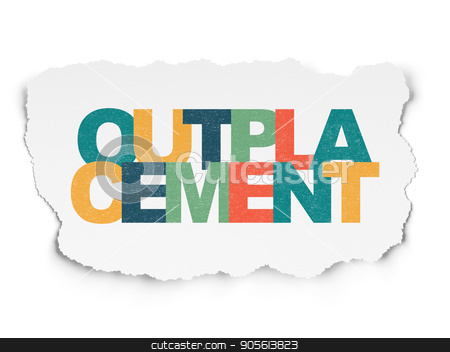 Business concept: Outplacement on Torn Paper background stock photo, Business concept: Painted multicolor text Outplacement on Torn Paper background by mkabakov