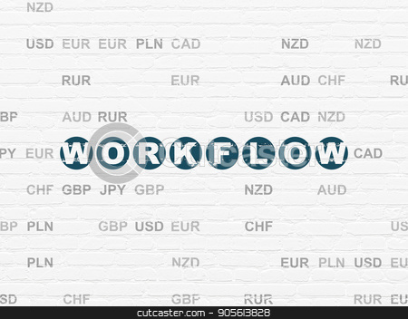 Finance concept: Workflow on wall background stock photo, Finance concept: Painted blue text Workflow on White Brick wall background with Currency by mkabakov
