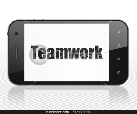 Finance concept: Smartphone with Teamwork on display stock photo, Finance concept: Smartphone with black text Teamwork on display, 3D rendering by mkabakov