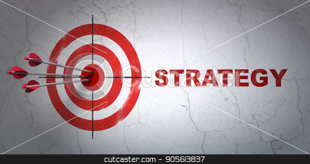 Finance concept: target and Strategy on wall background stock photo, Success finance concept: arrows hitting the center of target, Red Strategy on wall background, 3D rendering by mkabakov