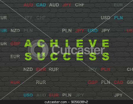 Business concept: Achieve Success on wall background stock photo, Business concept: Painted green text Achieve Success on Black Brick wall background with Currency by mkabakov