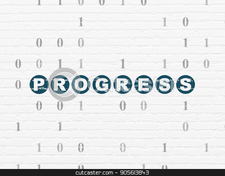 Finance concept: Progress on wall background stock photo, Finance concept: Painted blue text Progress on White Brick wall background with Binary Code by mkabakov