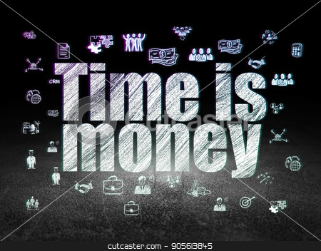 Finance concept: Time is Money in grunge dark room stock photo, Finance concept: Glowing text Time is Money,  Hand Drawn Business Icons in grunge dark room with Dirty Floor, black background by mkabakov