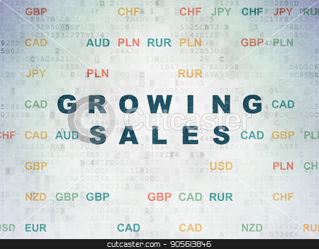 Finance concept: Growing Sales on Digital Data Paper background stock photo, Finance concept: Painted blue text Growing Sales on Digital Data Paper background with Currency by mkabakov