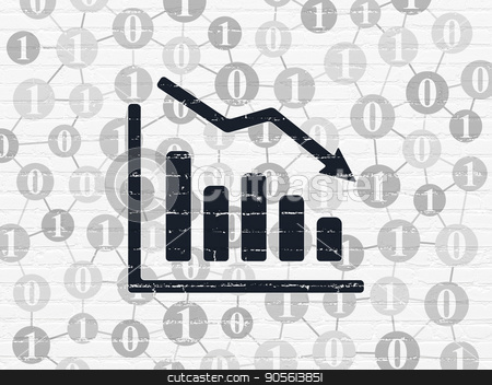 Finance concept: Decline Graph on wall background stock photo, Finance concept: Painted black Decline Graph icon on White Brick wall background with Scheme Of Binary Code by mkabakov