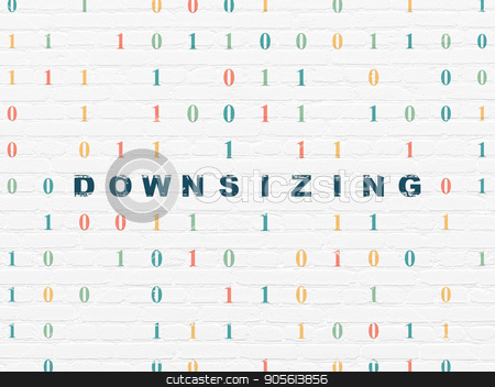 Business concept: Downsizing on wall background stock photo, Business concept: Painted blue text Downsizing on White Brick wall background with Binary Code by mkabakov