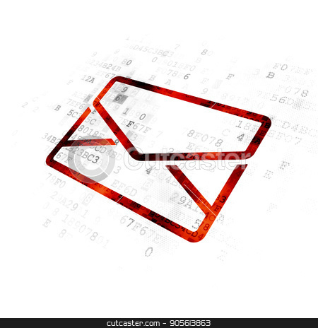 Business concept: Email on Digital background stock photo, Business concept: Pixelated red Email icon on Digital background by mkabakov