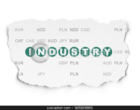Business concept: Industry on Torn Paper background stock photo, Business concept: Painted green text Industry on Torn Paper background with  Currency by mkabakov