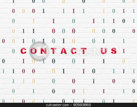 Business concept: Contact us on wall background stock photo, Business concept: Painted red text Contact us on White Brick wall background with Binary Code by mkabakov