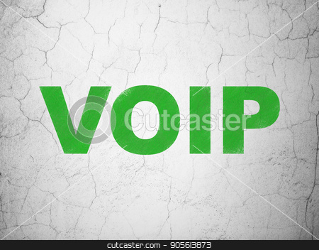 Web design concept: VOIP on wall background stock photo, Web design concept: Green VOIP on textured concrete wall background by mkabakov
