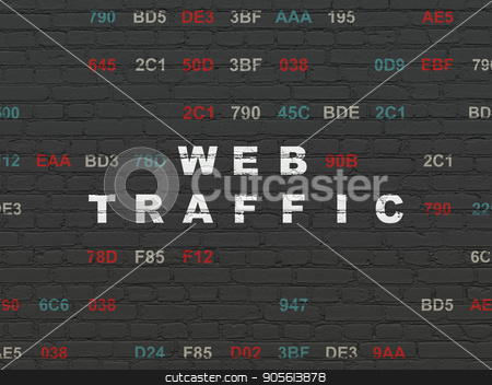 Web design concept: Web Traffic on wall background stock photo, Web design concept: Painted white text Web Traffic on Black Brick wall background with Hexadecimal Code by mkabakov