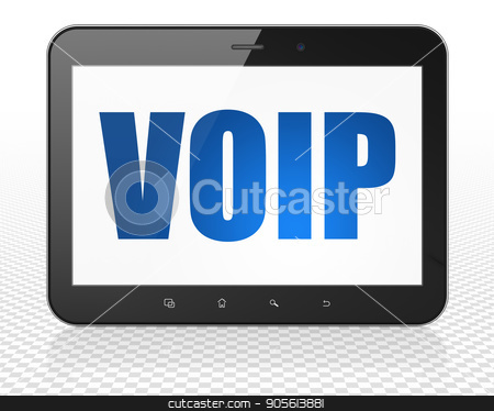 Web design concept: Tablet Pc Computer with VOIP on display stock photo, Web design concept: Tablet Pc Computer with blue text VOIP on display, 3D rendering by mkabakov