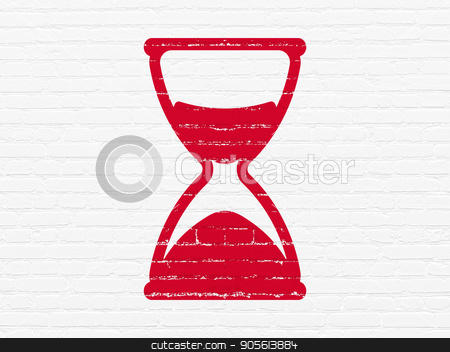 Time concept: Hourglass on wall background stock photo, Time concept: Painted red Hourglass icon on White Brick wall background by mkabakov