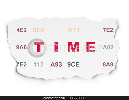 Time concept: Time on Torn Paper background stock photo, Time concept: Painted red text Time on Torn Paper background with  Hexadecimal Code by mkabakov