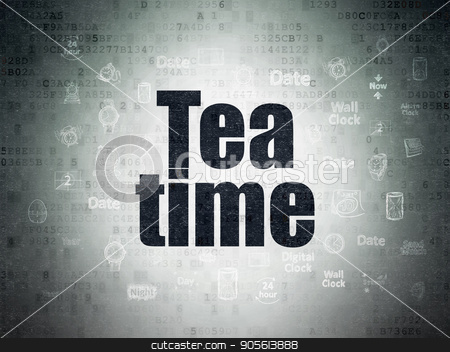 Timeline concept: Tea Time on Digital Data Paper background stock photo, Timeline concept: Painted black text Tea Time on Digital Data Paper background with  Hand Drawing Time Icons by mkabakov
