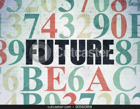 Timeline concept: Future on Digital Data Paper background stock photo, Timeline concept: Painted black text Future on Digital Data Paper background with Hexadecimal Code by mkabakov