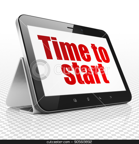 Timeline concept: Tablet Computer with Time to Start on display stock photo, Timeline concept: Tablet Computer with red text Time to Start on display, 3D rendering by mkabakov