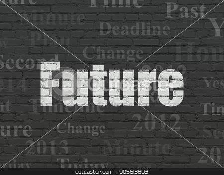 Time concept: Future on wall background stock photo, Time concept: Painted white text Future on Black Brick wall background with  Tag Cloud by mkabakov