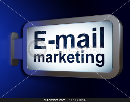 Advertising concept: E-mail Marketing on billboard background stock photo, Advertising concept: E-mail Marketing on advertising billboard background, 3D rendering by mkabakov