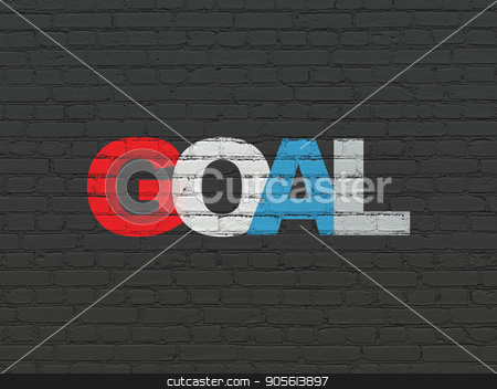 Marketing concept: Goal on wall background stock photo, Marketing concept: Painted multicolor text Goal on Black Brick wall background by mkabakov