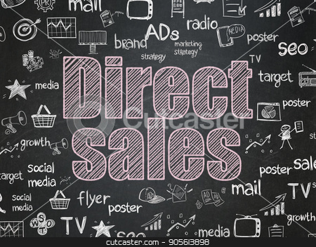 Advertising concept: Direct Sales on School board background stock photo, Advertising concept: Chalk Pink text Direct Sales on School board background with  Hand Drawn Marketing Icons, School Board by mkabakov