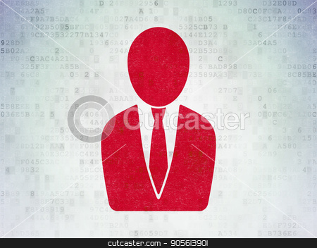 Advertising concept: Business Man on Digital Data Paper background stock photo, Advertising concept: Painted red Business Man icon on Digital Data Paper background by mkabakov