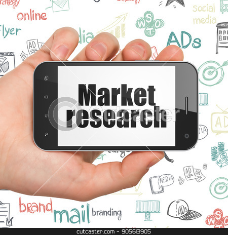 Advertising concept: Hand Holding Smartphone with Market Research on display stock photo, Advertising concept: Hand Holding Smartphone with  black text Market Research on display,  Hand Drawn Marketing Icons background, 3D rendering by mkabakov
