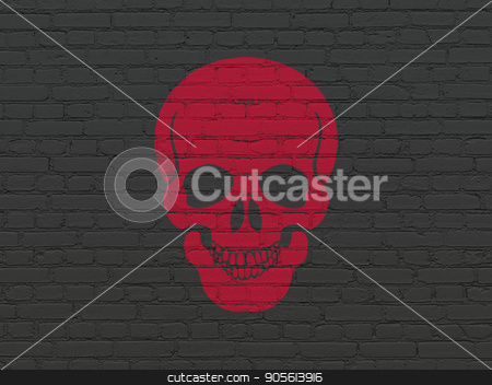Health concept: Scull on wall background stock photo, Health concept: Painted red Scull icon on Black Brick wall background by mkabakov