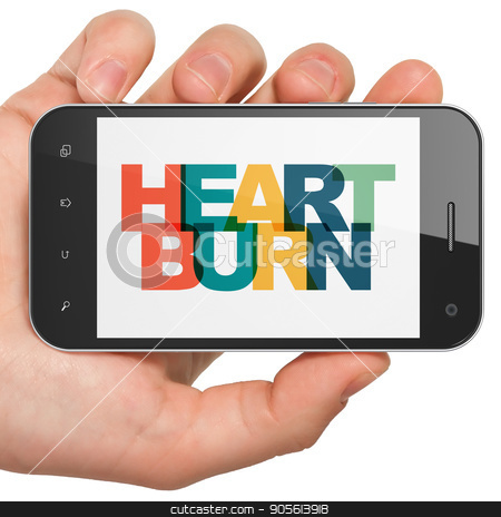 Health concept: Hand Holding Smartphone with Heartburn on  display stock photo, Health concept: Hand Holding Smartphone with Painted multicolor text Heartburn on display, 3D rendering by mkabakov